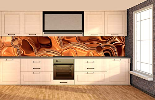 Zelfklevende keuken achterwand VLOEISTOF BRONS 350 x 60 cm | Zelfklevende spatwand keukenfolie | Waterbestendige folie voor de keuken | PREMIUM KWALITEIT | Gemaakt in de EU