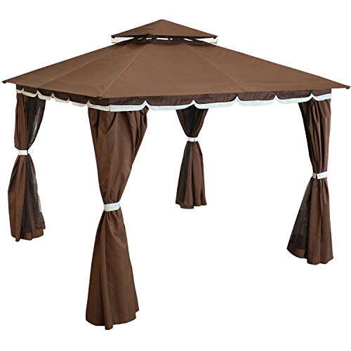 Sunnydaze Soft Top Patio Gazebo - 10 x 10 Foot Rectangle Outdoor Gazebo with Screens and Privacy Walls - Brown - Perfect for Backyard, Garden or Deck