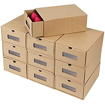 Femor 10 Cajas para Zapatos Apilable, Zapatero Cajón Plegable Caja, Caja de almacenamiento, Ahorro de Espacio: Amazon.es: Hogar