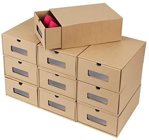10 Cajas de Zapatos Kraft, Caja para Zapatos de Papel Kraftcon Ventana y Cajón, Caja de Almacenamiento de Zapatos, Apilable,...