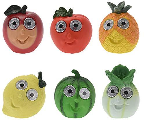 Solar LED Deko Obst und Gemüse Tomate Ananas Apfel Zitrone Melone Salat 6er Set für Garten Küche Esszimmer Fensterbank Dekoration