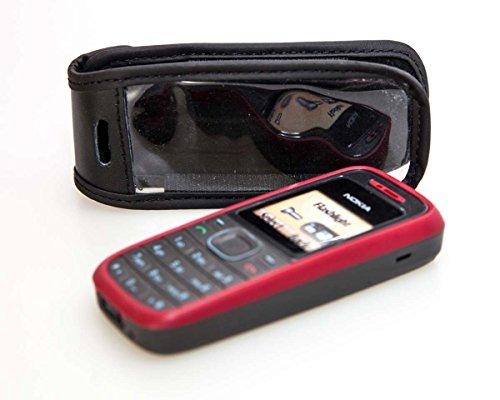 caseroxx Borsa in pelle con clip da cintura per Nokia 1100/1101, Funda carcasa vera pelle (con finestra trasparente) in nero