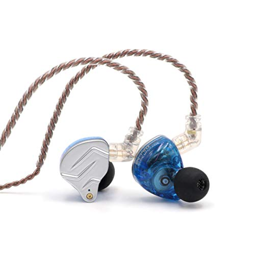 Linsoul KZ ZSN Pro Dual Driver 1BA+1DD Hybrid Metal Earphones HiFi In-Ear Monitor with Detachable 2Pin Cable, Zin Alloy Panel (with Mic, Blue)