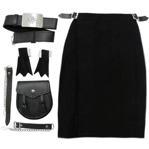 Tartanista - Kilt complet pour garçon - avec sporran/ceinture/flashes - noir uni - 13-14 ans | 76-81 cm L 58 cm