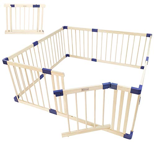 Wooden Baby playpen with Door, Play Fence for Babies, Kids Safety Play Center Yard,Playpen with gate for Infants and Babies,Extra Large Playard, Anti-Fall Playpen(Natural, 8-Panel w/Door)