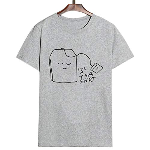 QingJiu Damen T Shirt Bluse Tops MäDchen Plus Size Print Frauen Kurzarm (Large, Grau)