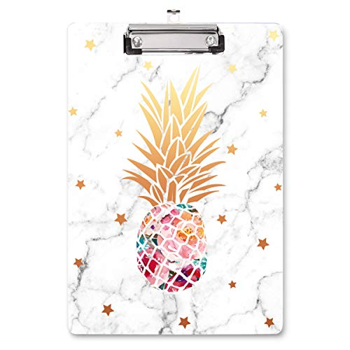 """WAVEYU Clipboard, Pineapple Hardboard Office Clipboard, Cute Golden Decorative Clipboard with Low Profile Clip Chic Designed for Students Classroom School and Office Use, Pineapple (12.5""""x9"""")"""