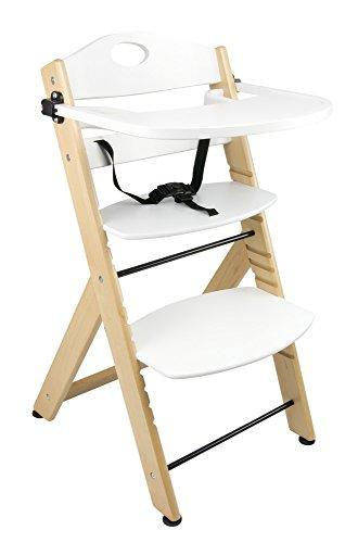 Baby peuter kinderen wit houten voeding kinderstoel stoel met afneembare lade en veiligheidsgordel Stabiele kinderstoel voor het voeden