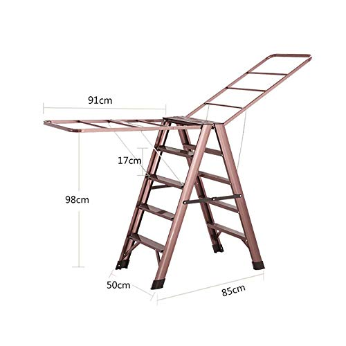 LADDER Huishoudelijke Stap Kruk, Fotografie Vouwen Stap Kruk, Stap Krukken Vouwen Volwassen Stap Ladder voor 330Lbs Capaciteit, 5 Stap Kruk met Droogrek, Draagbare Anti-Slip Ladder voor Keuken/Balkon, R