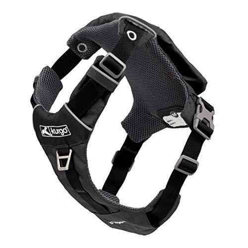 Kurgo Stash n' Dash Hundegeschirr, leichtes Westengeschirr für Hunde, Haustiergeschirr mit Tasche, faltbar in eine Tasche, für Laufen, Wandern, reflektierend, schwarz, Größe M