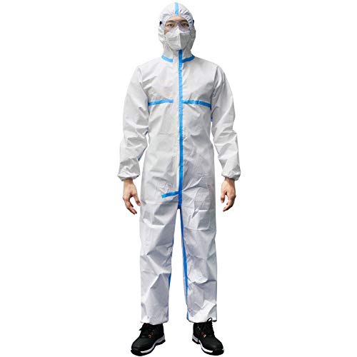 PAGE ONE Disposable Protective Coverall Suit Long Front Zipper Elastic Waistband & Cuffs Isolation Suit/L