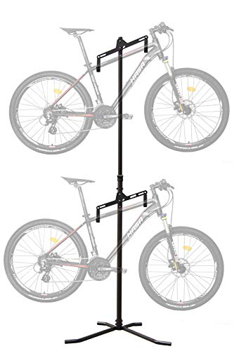 CyclingDeal 2 Bike Bicycle Vertical Hanger Parking Rack Gravity Floor Storage Stand for Garages or Apartments