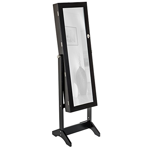 TecTake ARMADIETTO PORTAGIOIE con Specchio SPECCHIERA con Anta PORTAOGGETTI Gioielli 147 x 45 x 37 cm - Disponibile in Diversi Colori - (Nero)