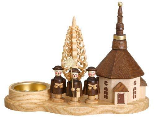 Volkskunstwerkstatt Unger Kurrendebrettchen mit Seiffener Kirche für Teelicht - Original Erzgebirge® #0439