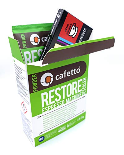Espresso Machine Cleaning & Descaling Pack Cino Cleano 8 Tablets and Box of 4 Restore Sachets Perfect and Compatible with Breville Machines