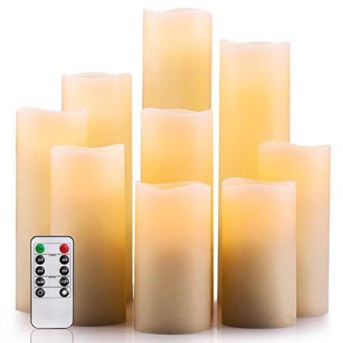 "Enpornk Flameless Candles Battery Operated Candles 4"" 5"" 6"" 7"" 8"" 9"" Set of 9 Ivory Real Wax Pillar LED Candles with 10-Key Remote and Cycling 24 Hours Timer"