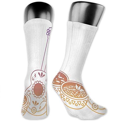 XCNGG Socken Kompression Mittelkalb Crew Socke, Ombre Effekt Design Umriss Mexikanisches Thema Traditionelle Suppe Food Flasche Und Gitarre