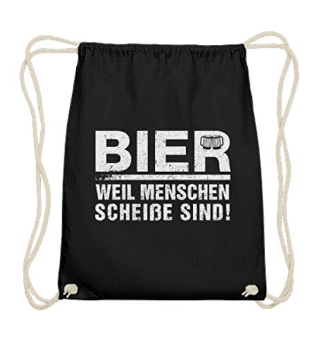 Shirtee Bier weil Menschen scheiße sind! - Bolsa de algodón, color Negro, talla 37cm-46cm