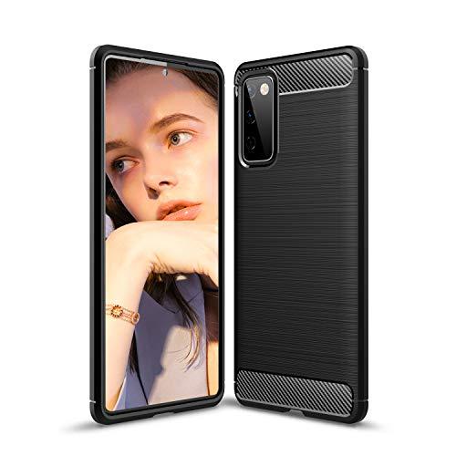 Easyshow Hülle für Samsung Galaxy S20 FE hülle, Carbonfaser Silikon handyhülle Samsung Galaxy S20 FE, Modische & Dünne Samsung Galaxy S20 FE Hülle-Schwarz