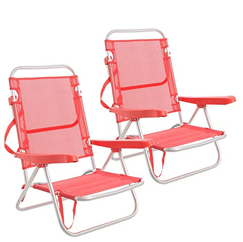 Pack de 2 sillas de Playa Convertibles en Cama de Aluminio y textileno (Coral)