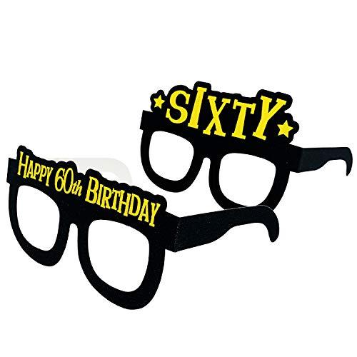 Occhiali da festa per i 60 anni birthday – Sixty birthday masks,nero oro tema: 60° compleanno, articolo per feste, regalo per donne, set di 24