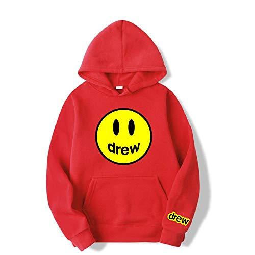 Fashion Hoodie Herren Justin Bieber The Drew House Smile Face Print Damen Herren Hoodies Sweatshirts Hip Hop Pullover Trainingsanzug Gr. Medium, rot (2)