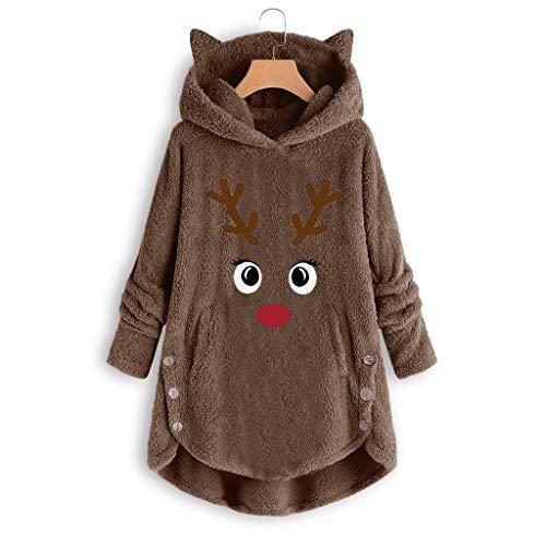 MEIPIQI Kawaii Kawaii - Sudadera con capucha y diseño de orejas de gato con botones para mujer, holgada, con...