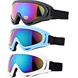 Ski Goggles, Yidomto Pack of 3 Snowboard Goggles for Kids,Boys,Girls,Youth, Mens Womens (Black-Blue-White)