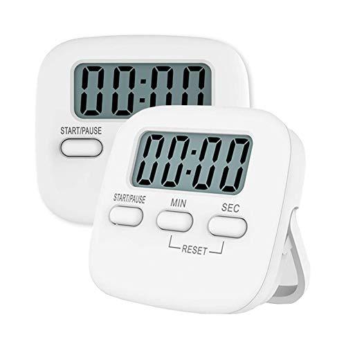 NIAGUOJI - Temporizador de cocina digital, 2 unidades, temporizador magnético de cuenta regresiva con alarma fuerte, gran dígito, soporte trasero, agujero para colgar para cocinar,profesor(blanco)