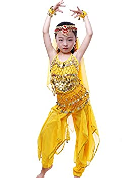 Astage Girls Oriental Belly Dance Sets Costumes All accessories Yellow M Fits 6-8 Years
