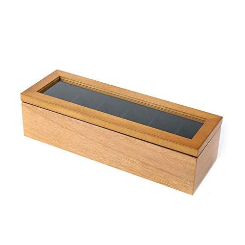 Joyero Caja de Reloj de 6 Ranuras Caja de Almacenamiento de exhibición de Reloj con Cubierta de Vidrio como Regalo con Cojines de Forro de Terciopelo