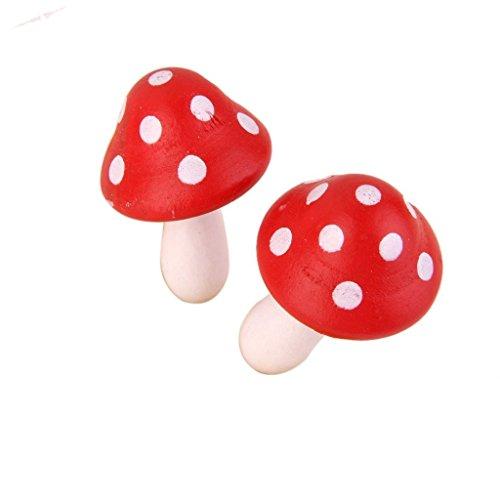 in the Dream 10 Stück Miniatur-Pilze aus Holz bemalt Basteln Hochzeit Ornamente Weihnachten Deko Garten Dekoration