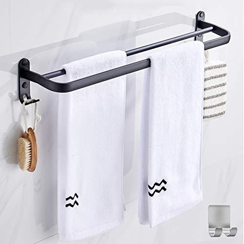 50CM Toallero de Pared para baño, toallero Negro Mate, toallero con Dos toalleros y diseño de Gancho, sin oxidación, toallero de aleación de Aluminio no Perforado+1 Ganchos Adhesivos