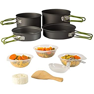Wealers Camping Cookware Outdoor Mess Kit Backpacking| 4 Pot Included| Trailblazing add on| Compact| Lightweight| Durable| with Chef Pots, Bowls, Utensils and Mesh Carry Bag Included (11 Piece Set)