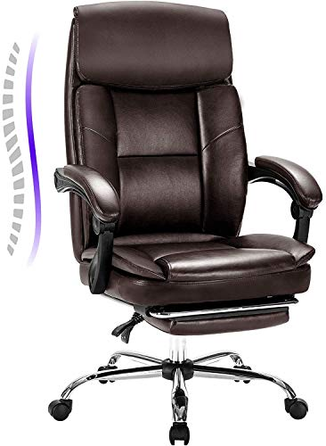 Statesville Big and Tall Reclining Leather Office Chair Metal Base High Back Executive Computer Desk Chair with Adjustable Lumbar Support Angle Recline Locking System and Footrest Brown