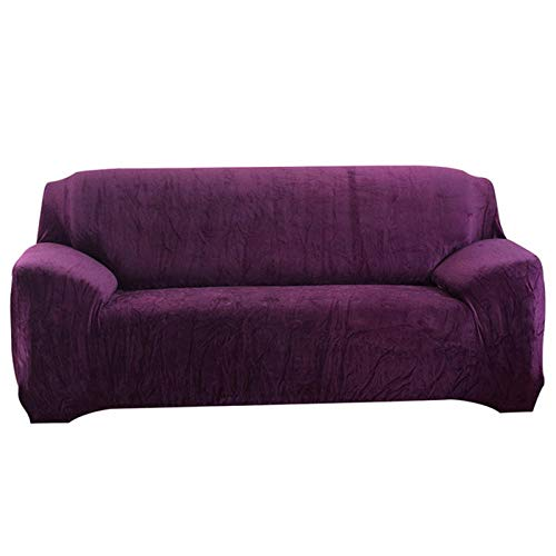 Allenger Cubierta para Sofá con Cuerda De Fijación,Thicken Felpa Elástica Cubre Sofá Muebles Seccionales En Forma De L Slipcover-Purple_145-185Cm_China