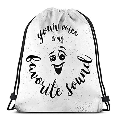 XCNGG Gym Kordelzugbeutel Leichte Segeltuchtanztaschen Rucksack Sport Für Männer Frauen Ihre Stimme mein Lieblingstonzitat lächelndes Comic-Gesicht handgeschriebene Schrift skizzierte Kunstwerke