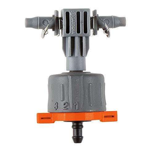 Gotero lineal ajustable regulador de presión Caudal regulable de 1 a 8 l/h con escala de graduación, Contenido: 5 goteros lineales y 1 tapón de cierre.