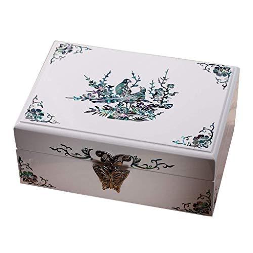YUXO Sieradendoos voor Vrouwen Jewelry Boxes Houten Showcase Met Spiegel Portable Velvet veelzijdige sieraden opbergdoos for Bruiloft Engagement Gift Cadeau voor Meisje