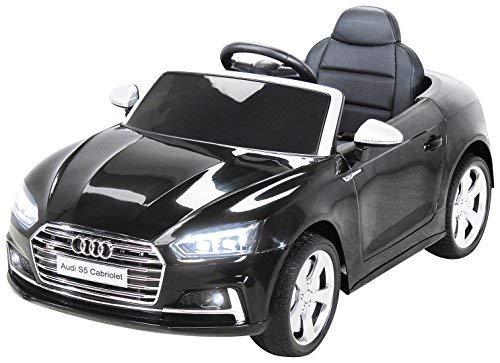 Actionbikes Motors Kinder Elektroauto S5 Cabriolet Leder Sitz Kinderfahrzeug Kinderauto Kinderelektroauto Eva Reifen (Schwarz)