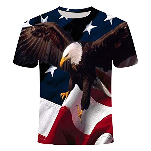 Sunofbeach Unisex 3D Gedrukt T-shirt Zomer Gepersonaliseerde Casual T-shirt met korte mouwen Tops, Moderne Nieuwigheid Eagle Vlag