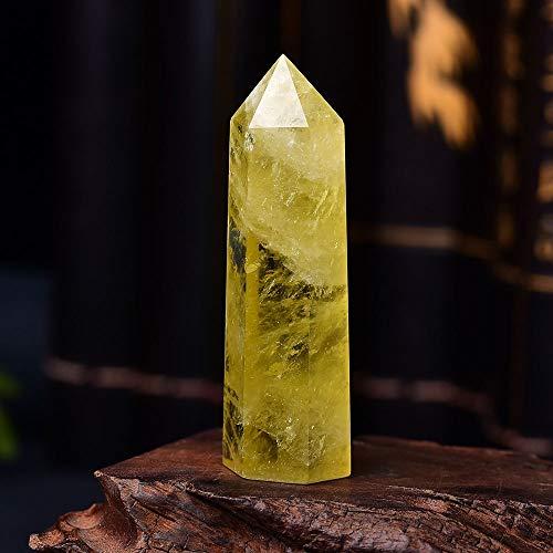 KENG Natürliche 1pc Naturkristallpunkt Citrine Healing Obelisk Gelb-Quarz-Wand Schönes Ornament for Hauptdekor Energie-Stein-Pyramide Schmuck Zubehör (Size : 71 80mm)
