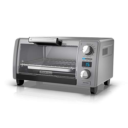 BLACK+DECKER TOD1770G 4-Slice Natural Convection Digital Toaster Oven, Grey, 15.3' x 9.8' x 7', Gray