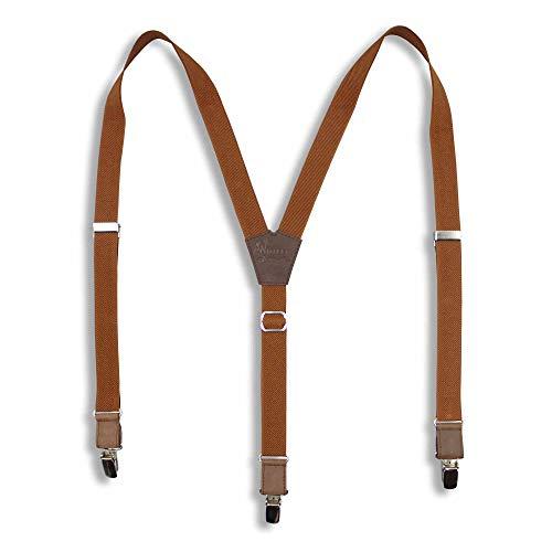 Wiseguy M/L Mono Kleur 1 inch Elastische Thin Casual, Formele Broekbeugels met Camel Bruin Lederen onderdelen