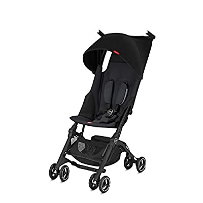 gb Pockit+ Lightweight Baby Stroller, Umbrella Stroller, Collapsible, Travel-Friendly, Folds into Backpack, Fits in Overhead Compartments, Reclining Seat, UPF50+ Sun Canopy, Satin Black