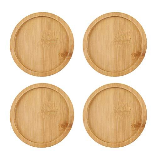 Yardwe 4 Stücke Blumentopf Untersetzer Holz Untertasse Rund Serviertablett Bambus Tablett für Pflanztopf Bonsai Sukkulente Küche Dessert 7,5x7,5 cm