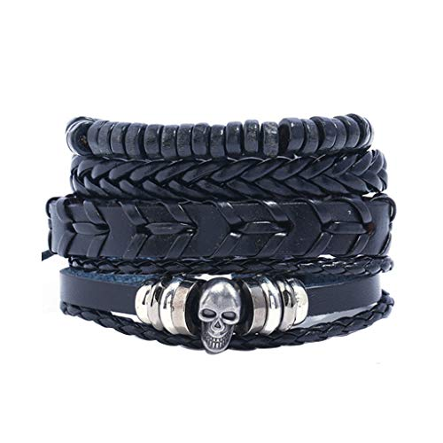 AQ89 Braided Bracelet Vintage Multi-layer Leather Bracelet Jewelry gift fashion, Bracelets, Jewelry & Watches (Black)