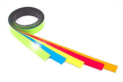 Magnetshop der Sckeyde GmbH Magnetband PERMAFLEX® farbig Sortiert, 5 Meterstücke, 5 mm breit, 0,85 mm stark. Farben: rot, gelb, orange, blau, grün. Ideal zum Markieren auf Memoboards/Kalendern