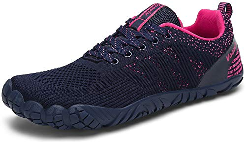 Voovix Mens Barefoot Shoes Athletic Trail Running Shoes Womens Outdoor Walking Shoes for Hiking Cross Training (Blue/Rose Red40)