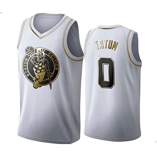 DXG NBA Boston Celtics- #0 Jayson Tatum -Basketball Jersey Herren Basketball Sportswear, Unisex Ärmelloses Besticktes Mesh Basketball Mesh Tank Top T-Shirt Atmungsaktiv,Weiß,L